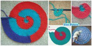 diy4ever- Knit Spiral Rag Rug - Free Pattern