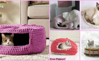 diy4ever-10 Awesome Crochet Cat Bed - Free Patterns