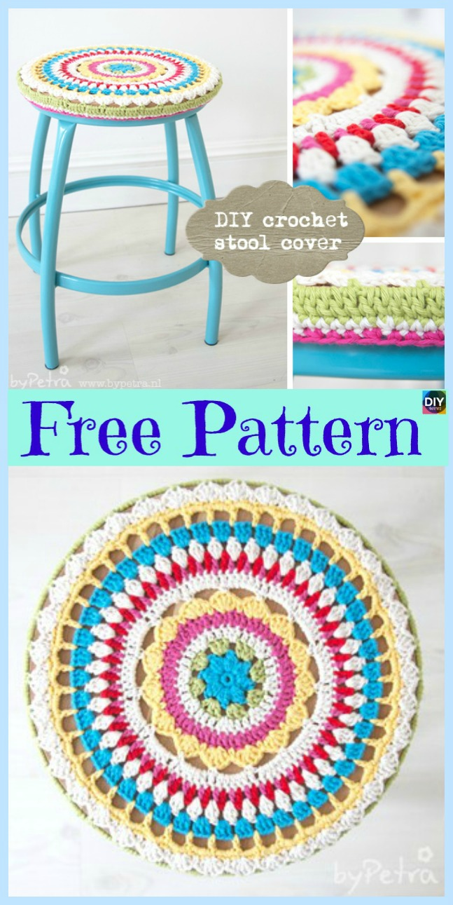 diy4ever-10 Beautiful Crochet Stool Cover Free Patterns