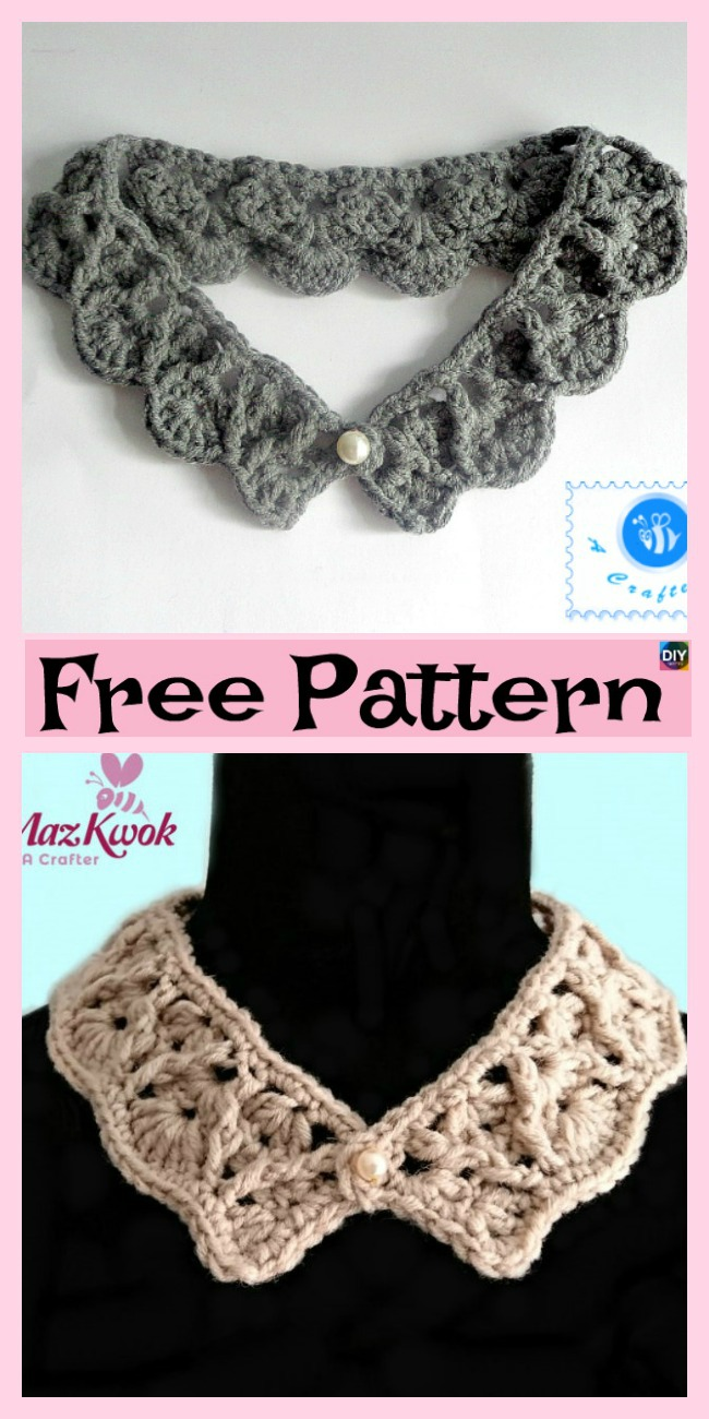 12 Pretty Crochet Simple Collar Free Patterns - DIY 4 EVER