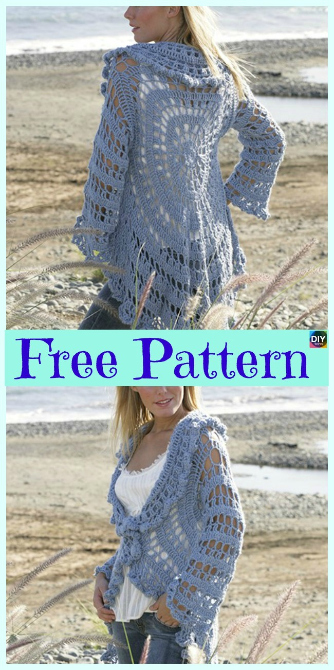 diy4ever-15 Unique Crochet Circular Jacket Free Patterns