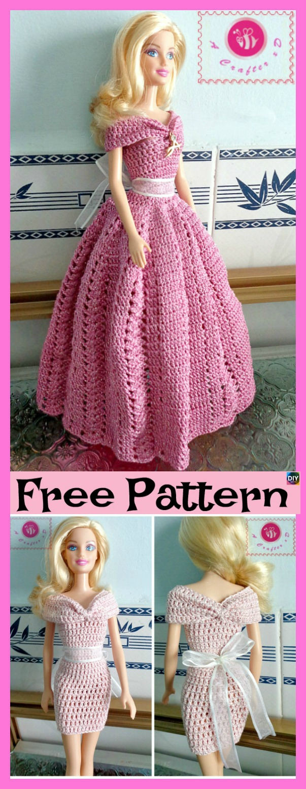 diy4ever-6 Pretty Crochet Doll Dress - Free Patterns