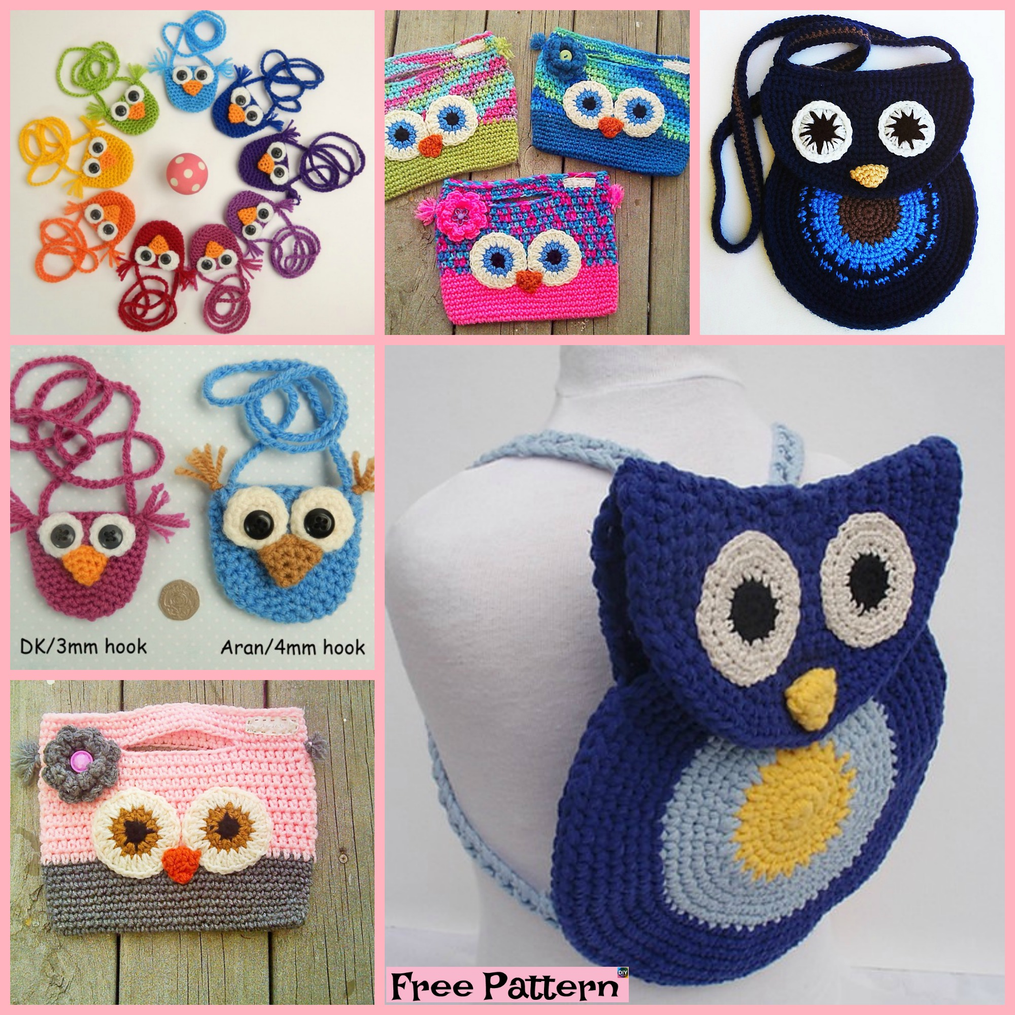 diy4ever-Adorable Crochet Owl Bag - Free Patterns