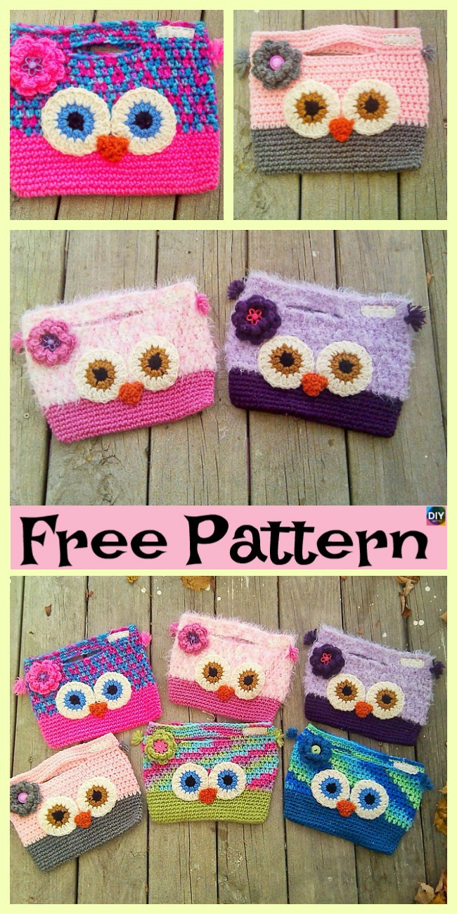 diy4ever-Adorable Crochet Owl Bag - Free Patterns