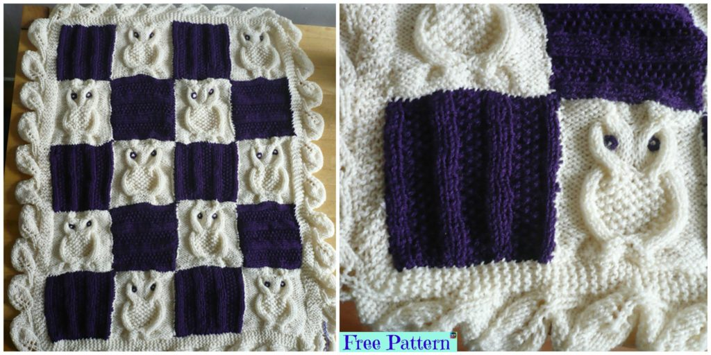 Adorable Knit Cable Owl Blanket Free Pattern Diy 4 Ever