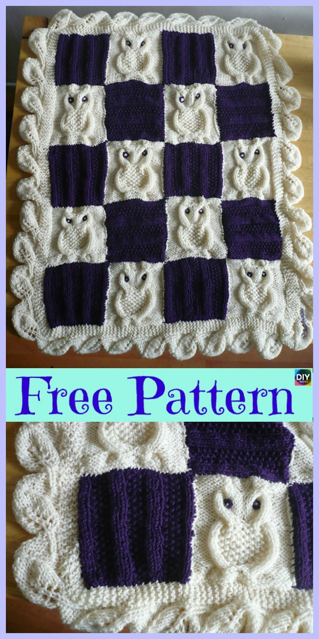 diy4ever-Adorable Knit Cable Owl Blanket - Free Pattern