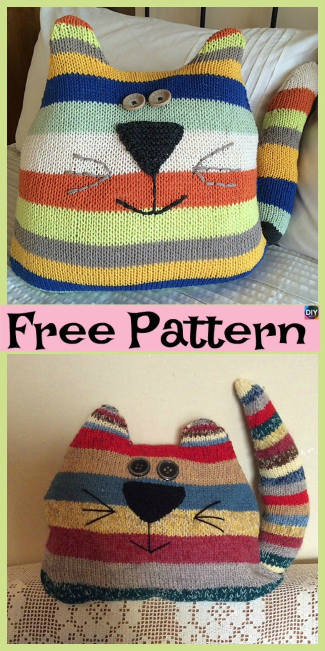 diy4ever- Adorable Knit Cat Cushion - Free Patterns