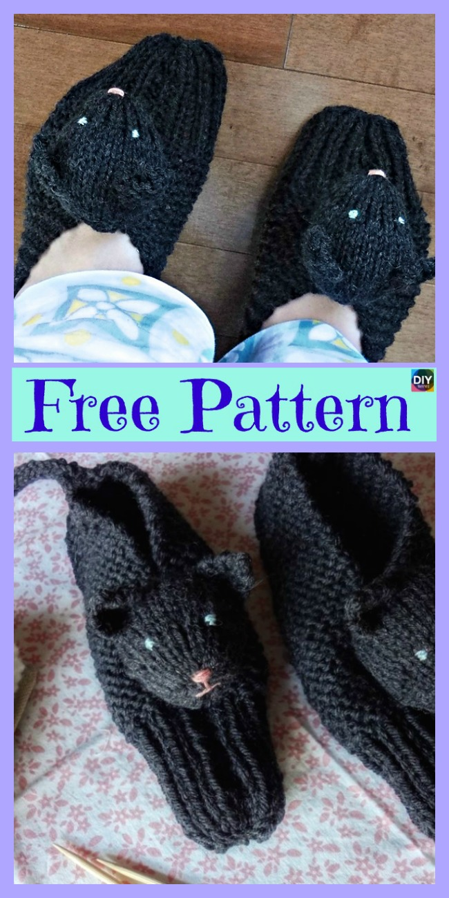 diy4ever-Adorable Knit Kitty Slippers - Free Patterns
