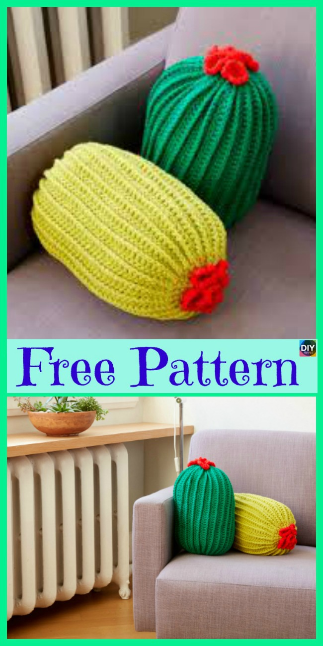 diy4ever-Beautiful Crochet Cactus Pillow - Free Patterns