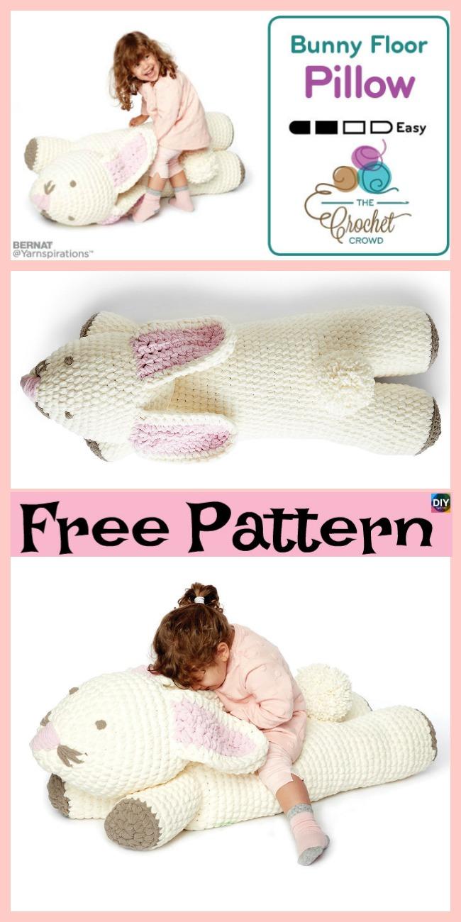 diy4ever- Crochet Bunny Floor Pillow - Free Pattern