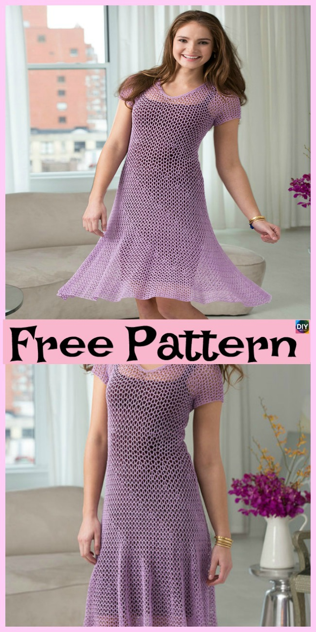 diy4ever-Crochet Flare Dress - Free Patterns