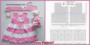 diy4ever-Crochet Hello Kitty Dress & Amigurumi - Free Pattern