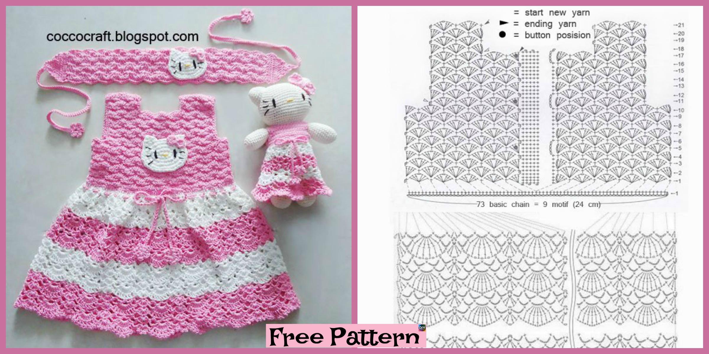Crochet Hello Kitty Dress & Amigurumi - Free Pattern - DIY 4 EVER