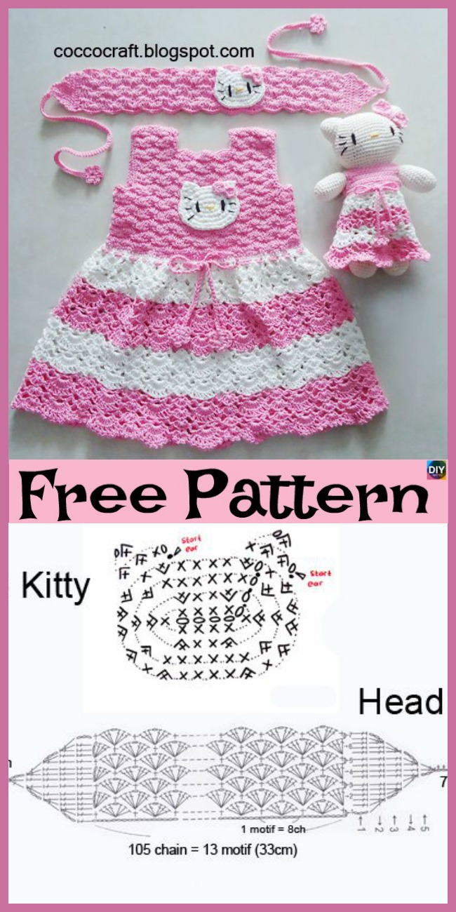 Crochet Hello Kitty Dress Amigurumi Free Pattern Diy 4 Ever