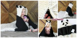 diy4ever-Crochet Panda Hooded Afghan – Free Pattern