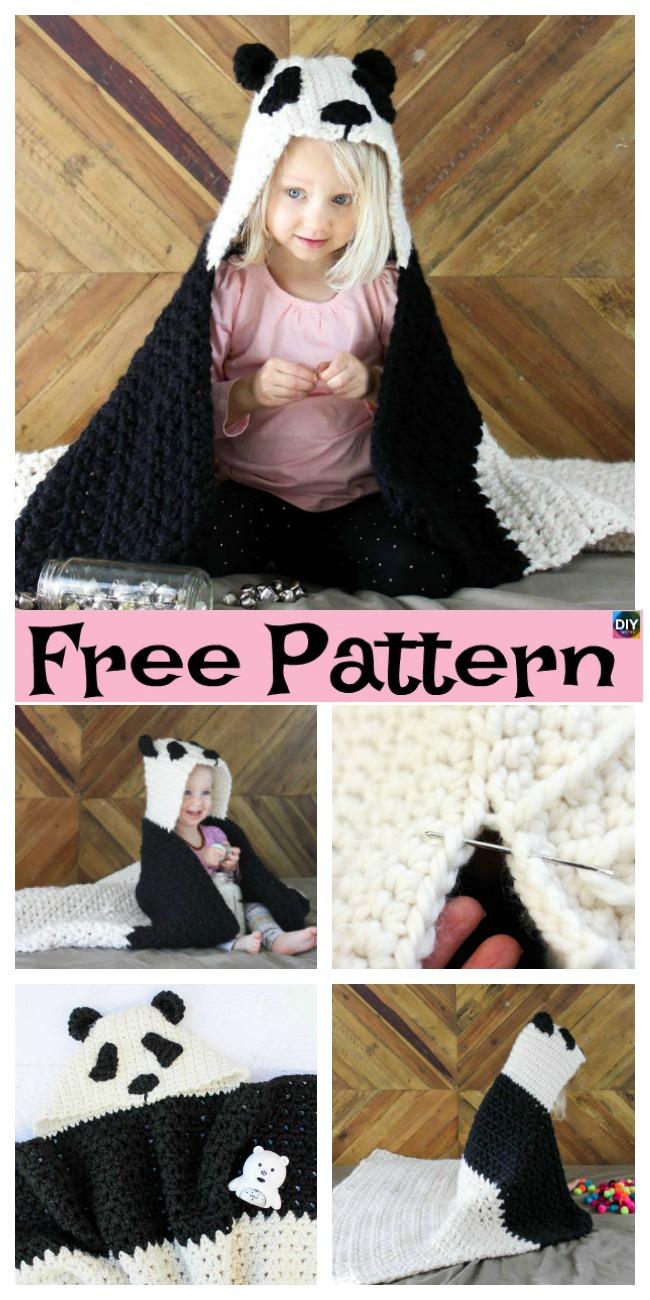 diy4ever-Crochet Panda Hooded Afghan – Free Pattern