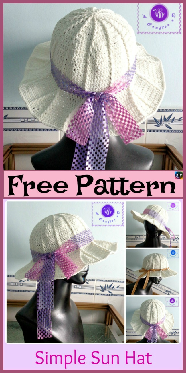 diy4ever-Crochet Simple Sun Hat - Free Patterns