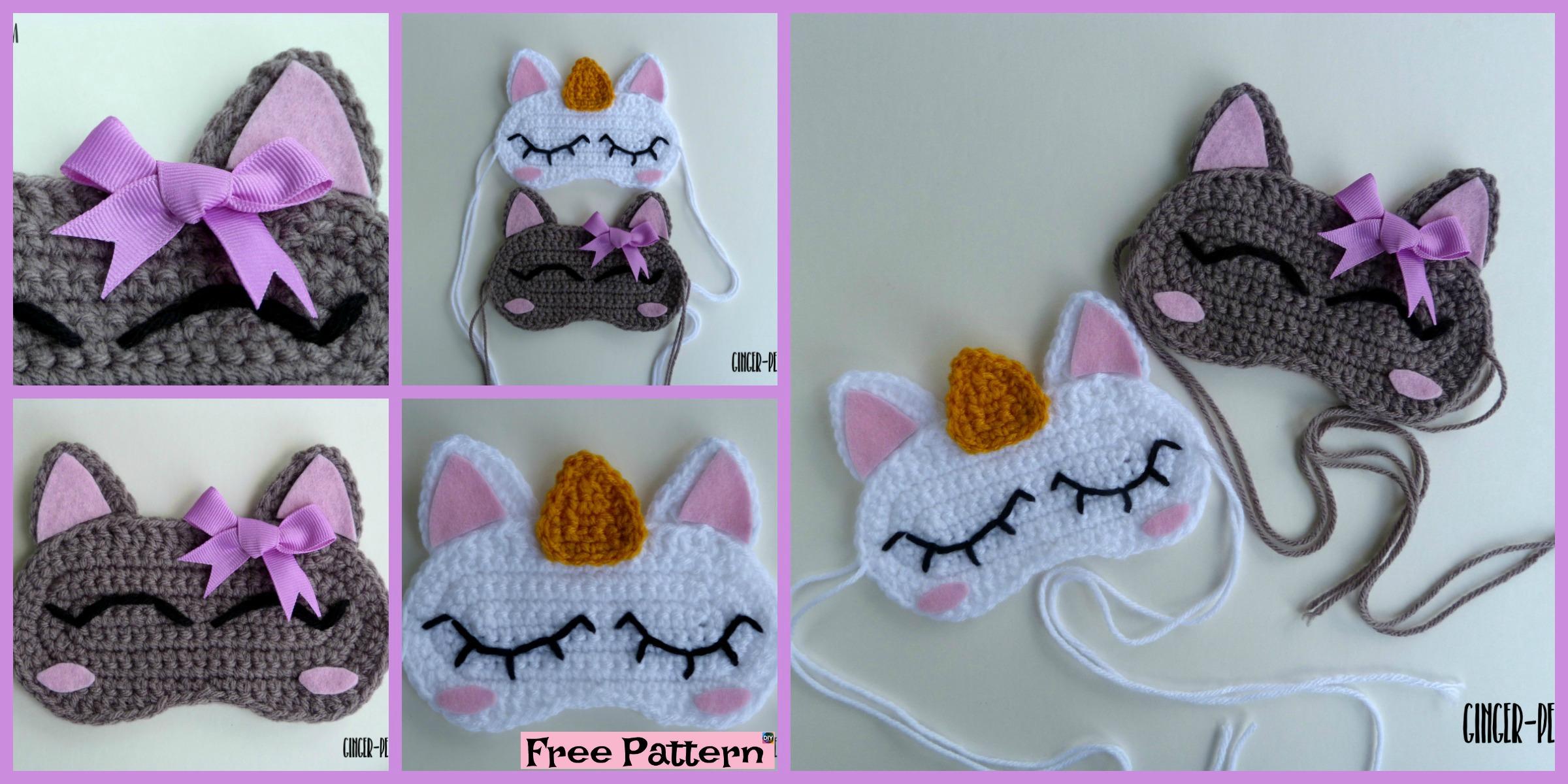 diy4ever Crochet Unicorn Sleep Mask – Free Pattern F - Cute Crochet Unicorn Hat - Free Pattern