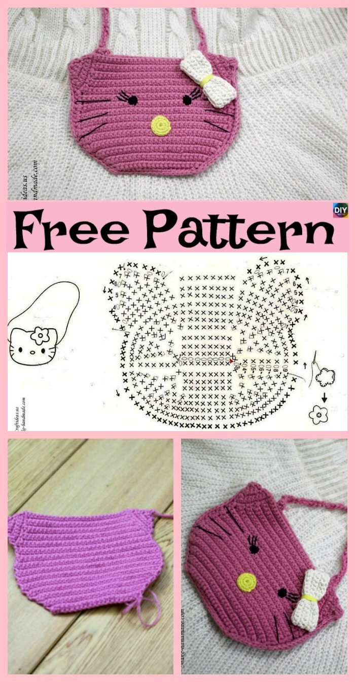 diy4ever-Cute Crochet Hello Kitty Purse - Free Patterns