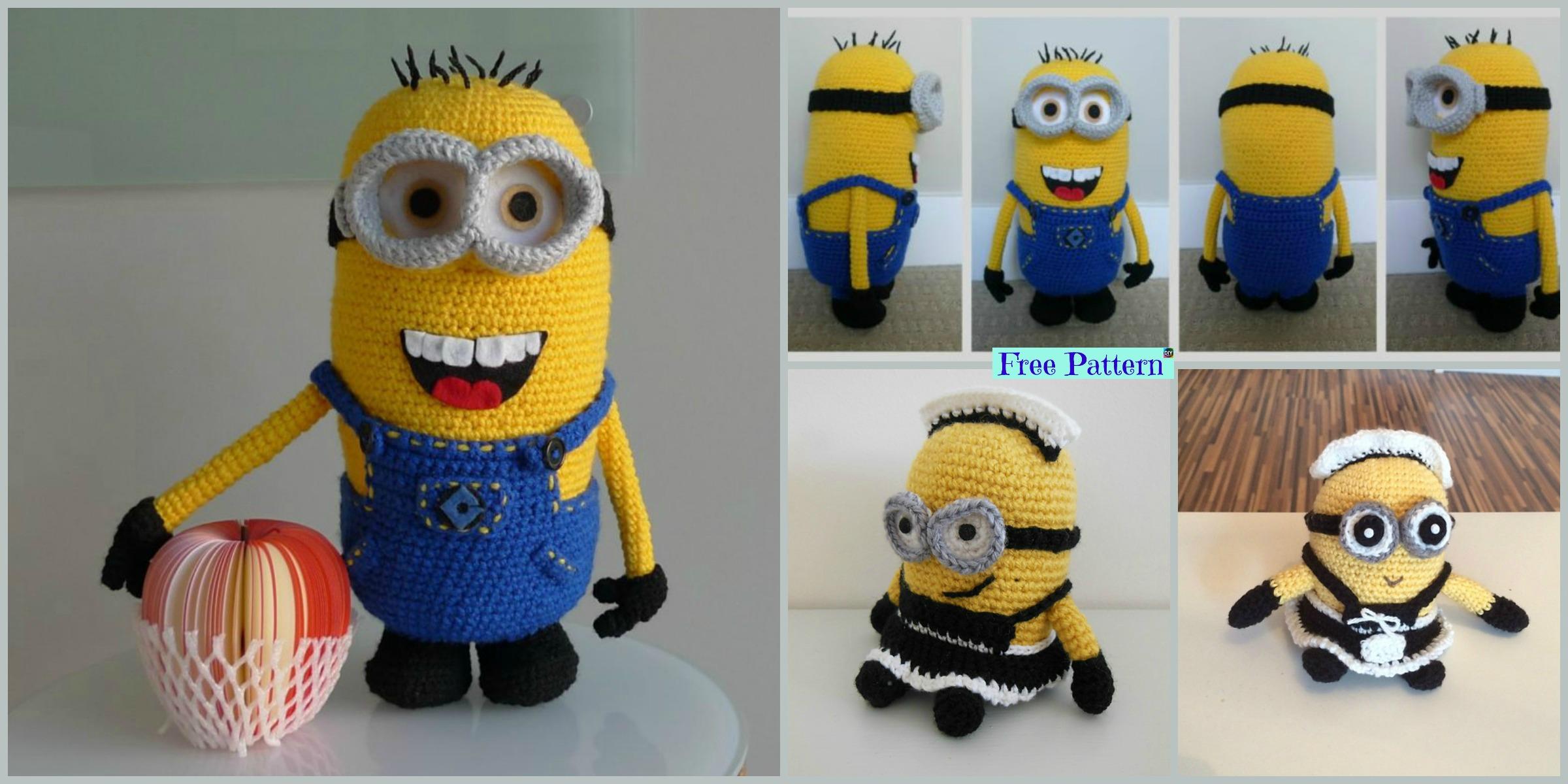 Super Cute Crochet Minion Character- Free Patterns - DIY 4 EVER