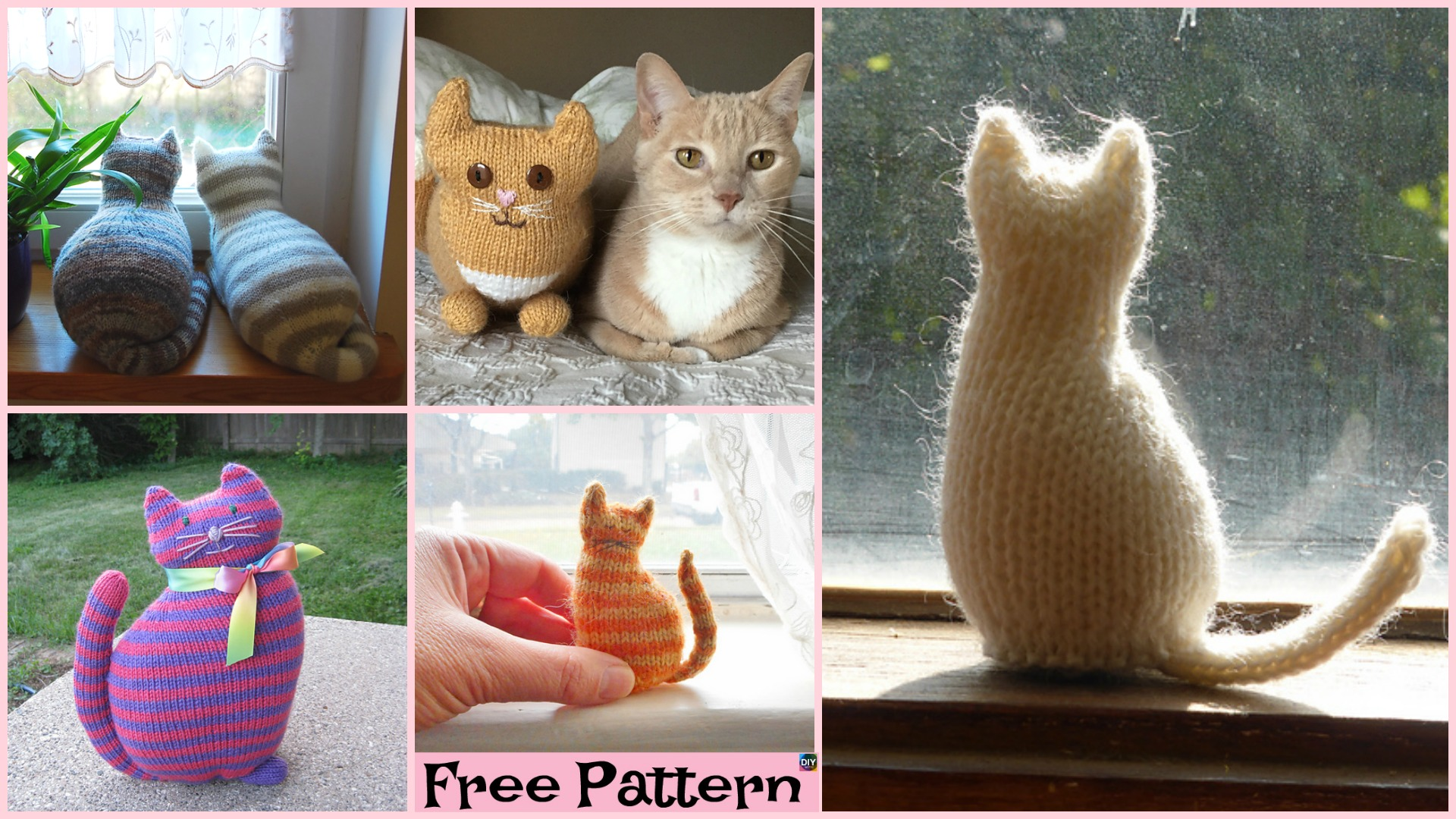 Super Cute Knit Window Cat – Free Patterns