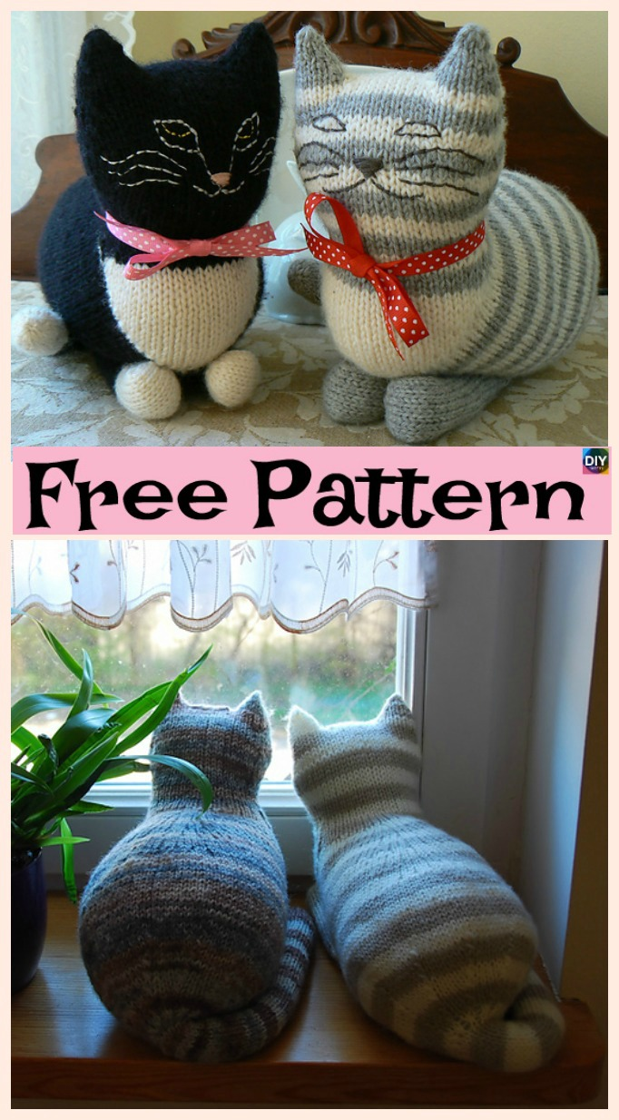 diy4ever-Cute Knit Window Cat - Free Patterns
