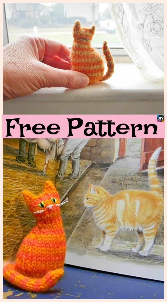 Super Cute Knit Window Cat Free Patterns Diy 4 Ever