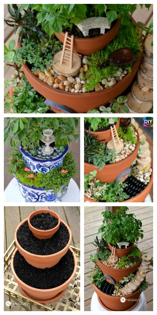 diy4ever-DIY Flower Pot Fairy Garden Tutorial