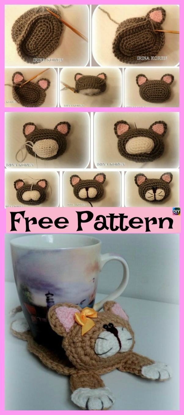 diy4ever-Knit Cat Stand Under the Cup - Free Pattern