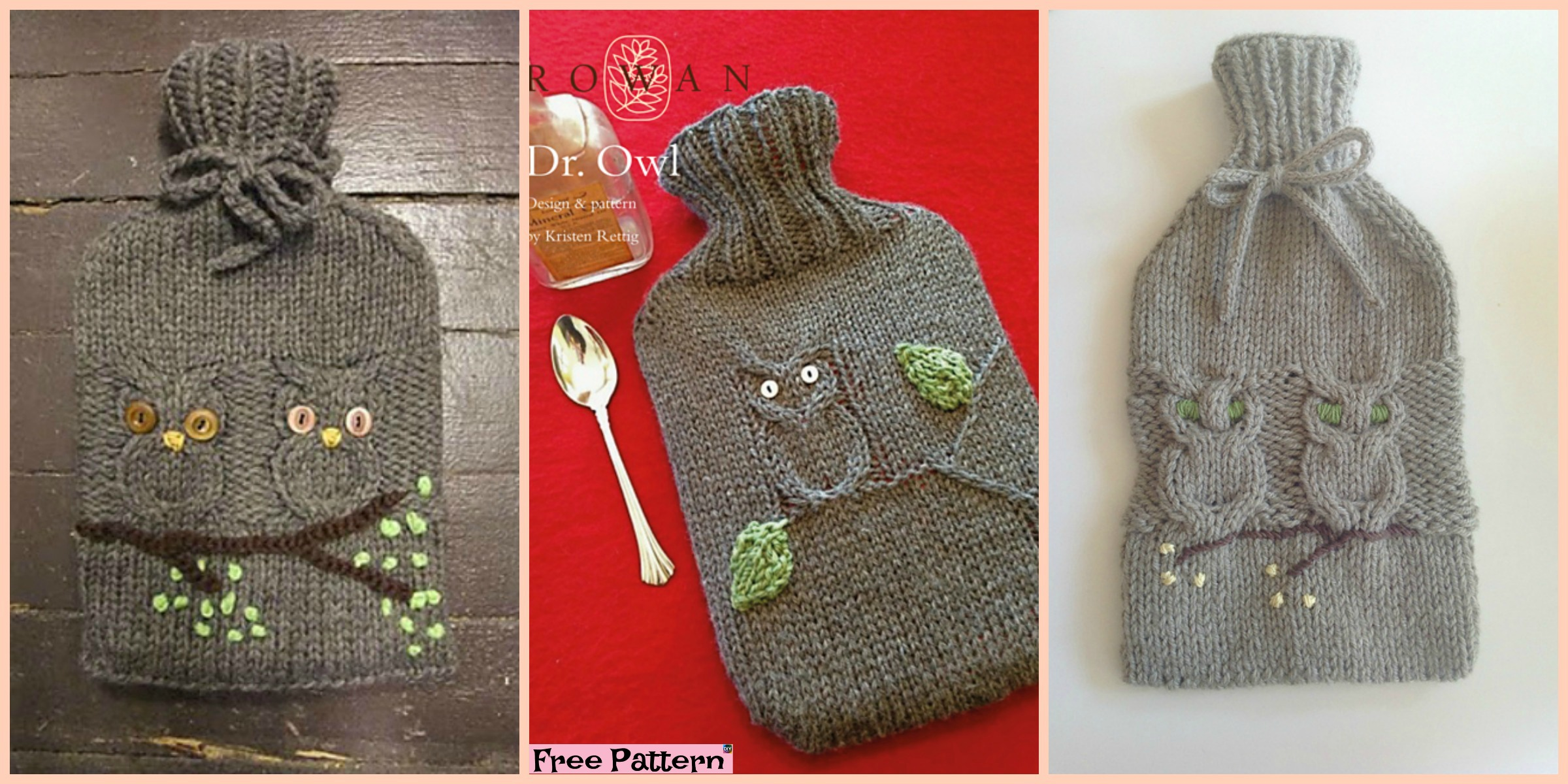 Cute Knit Owl Water Bottle Cozy - Free Pattern - DIY 4 EVER
