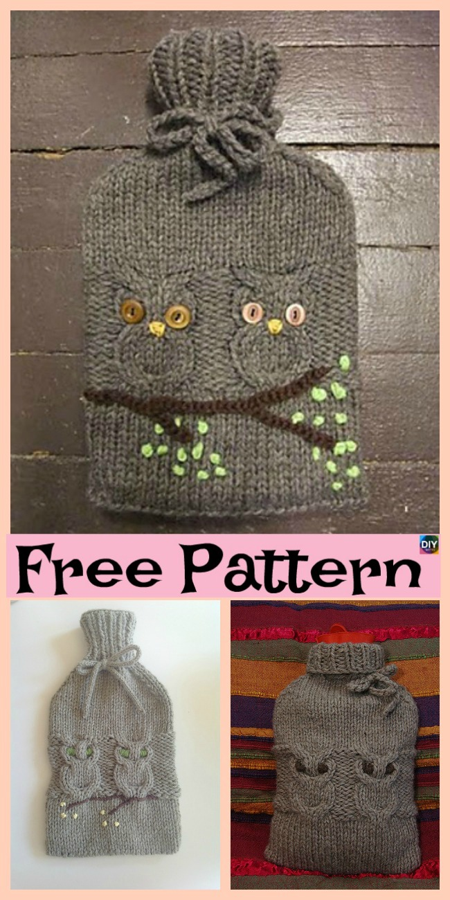 diy4ever- Knit Owl Water Bottle Cozy - Free Pattern