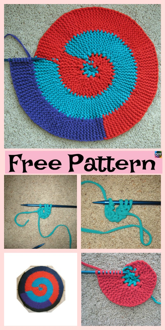 diy4ever- Knit Spiral Rag Rug - Free Pattern