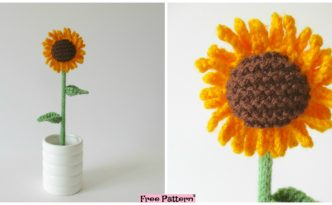 diy4ever Knitted Sunflower Free Pattern F 332x205 - Pretty and Simple Knitted Sunflower - Free Pattern