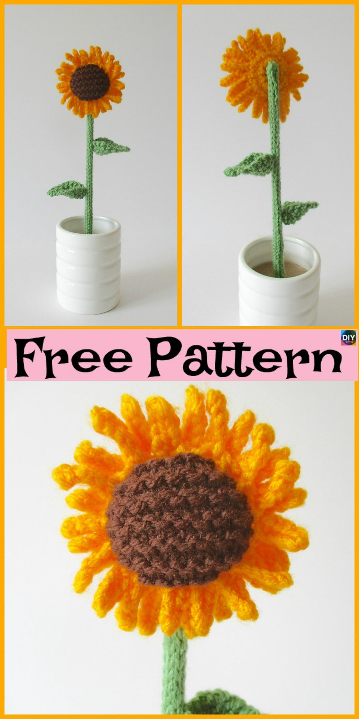 Pretty Knitted Sunflower - Free Pattern