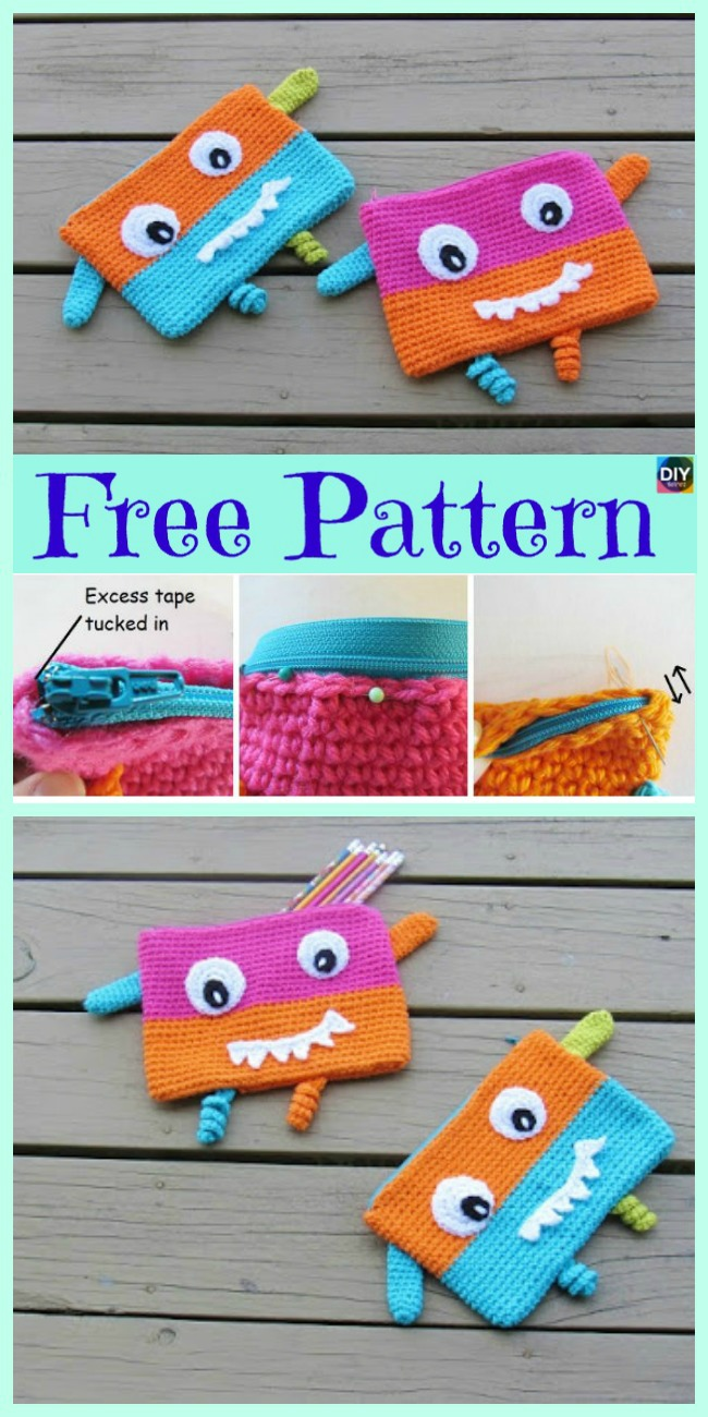 diy4ever-8 Cutest Crocheted Pencil Case - Free Patterns