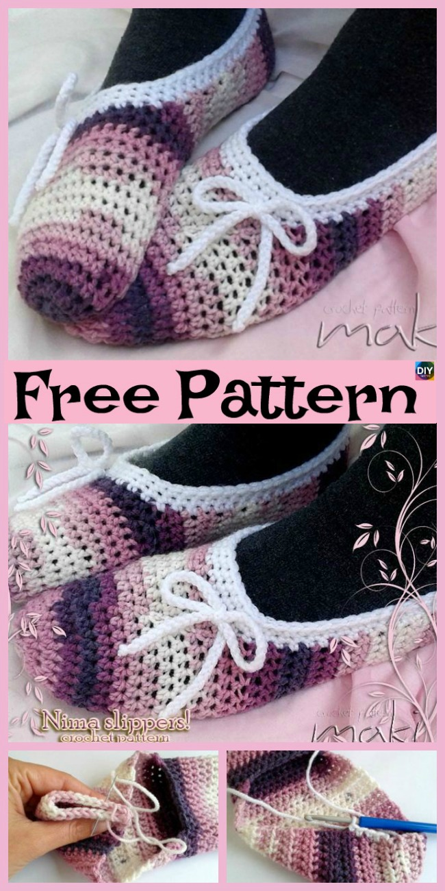diy4ever-Cozy Crochet NIMA Slippers - Free Pattern