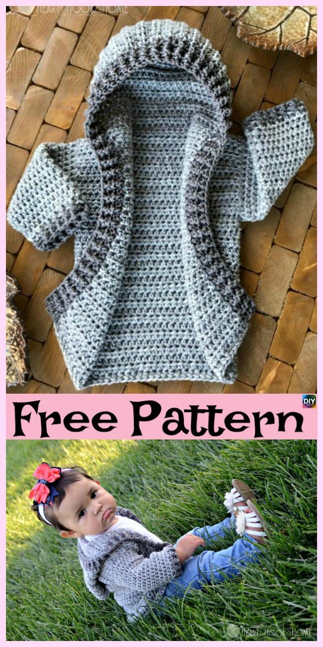Crochet Baby Hoodie Free Pattern Diy 4 Ever