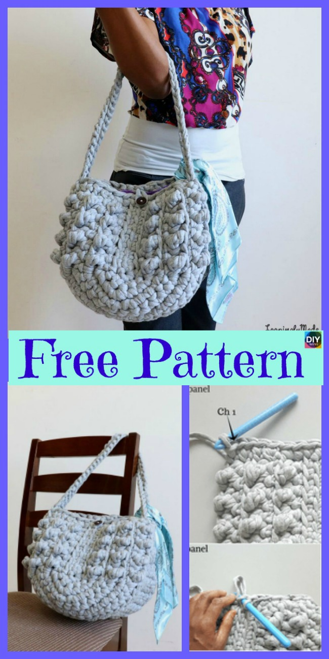 diy4ever-Crochet Chunky T-Shirt Tote - Free Pattern