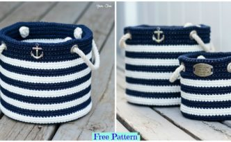diy4ever- Crochet Nautical Basket - Free Pattern