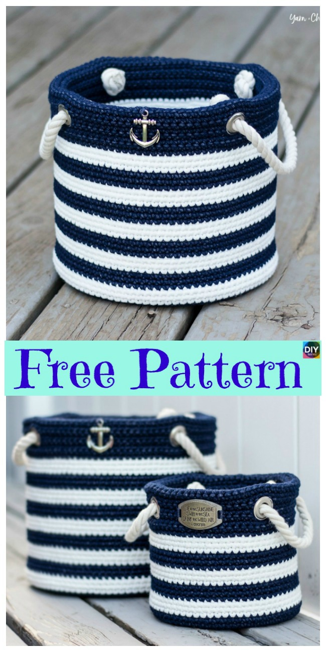 diy4ever- Crochet Nautical Basket - Free Pattern