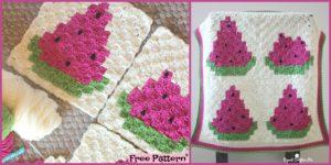 diy4ever - Crochet Watermelon Blanket FREE PATTERN