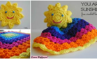 diy4ever- Crochet Sun Rainbow Lovey - Free Pattern