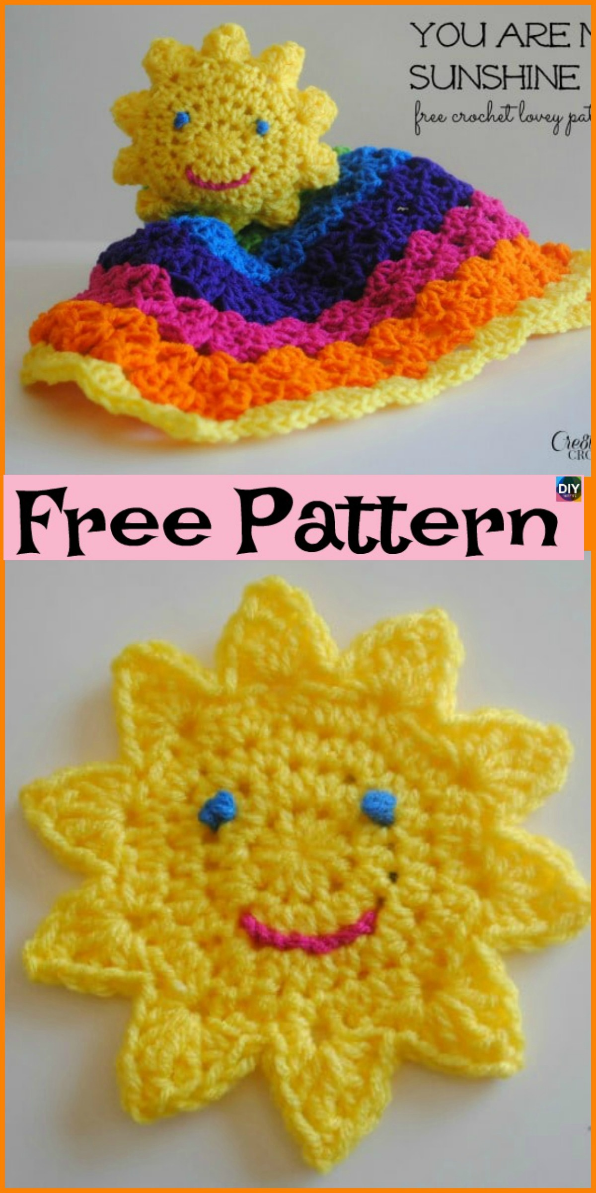 diy4ever Crochet Sun Rainbow Lovey Free Pattern P1 - Colorful Crochet Sun Rainbow Lovey - Free Pattern