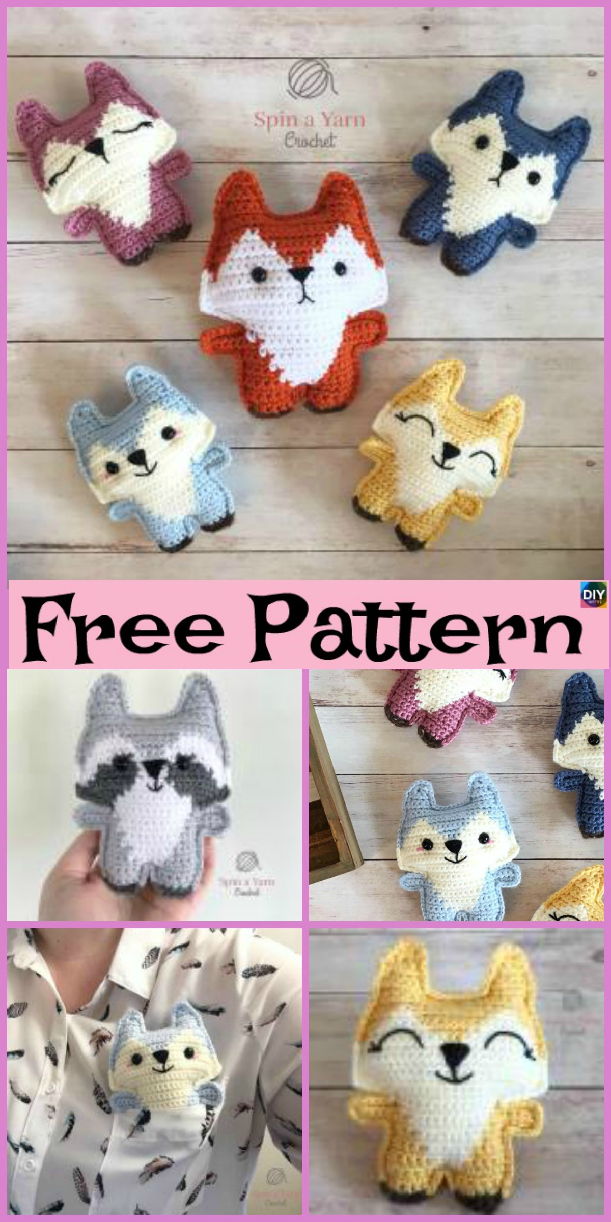 diy4ever- Cute Crochet Pocket Fox - Free Pattern