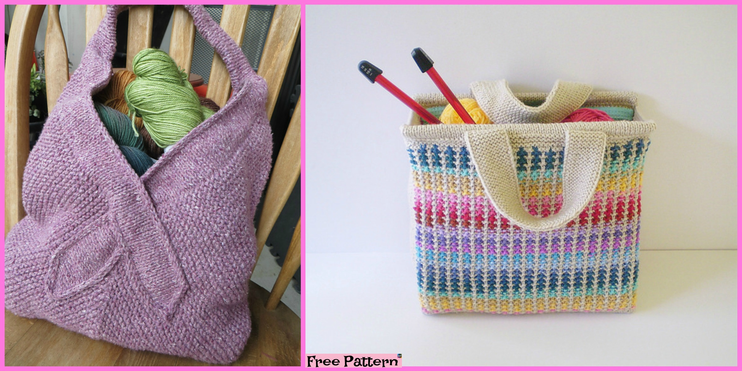 Beautiful Knit Tote Bag - Free Patterns - DIY 4 EVER