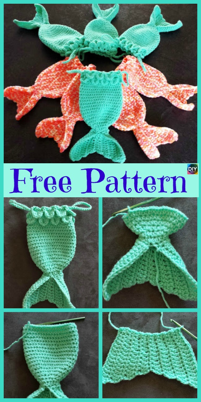 diy4ever- Mermaid Fish Tail Crocheted Treat Bags - Free Pattern