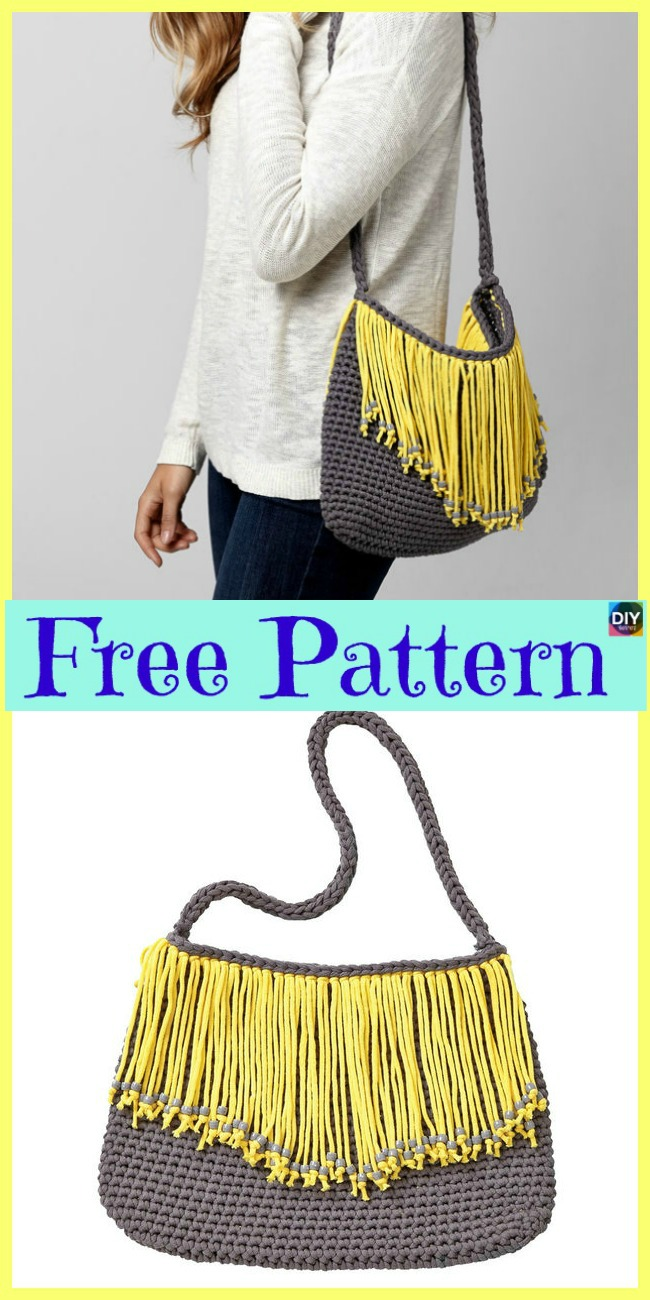 Crochet Bernat Fringe Benefits Bag - Free Pattern