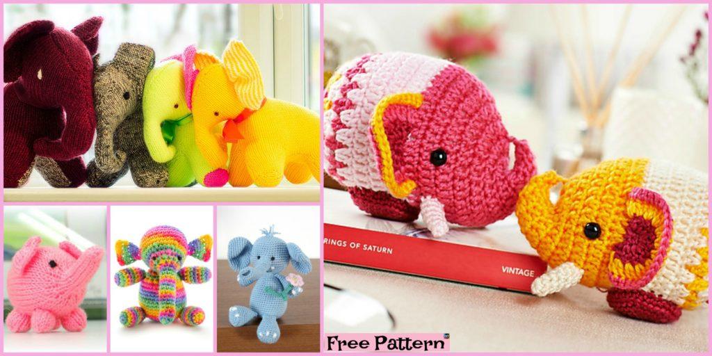 10 Crochet Knit Amigurumi Elephant Free Patterns Diy 4 Ever