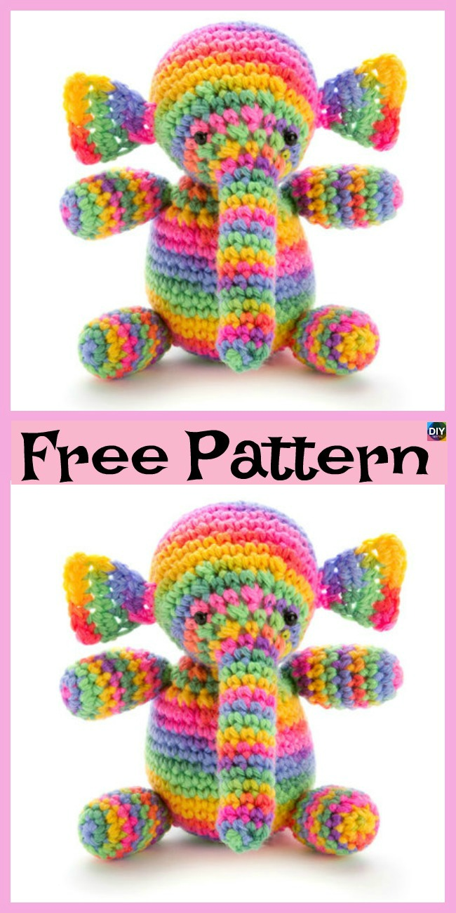 diy4ever-10 Crochet & Knit Amigurumi Elephant Free Patterns