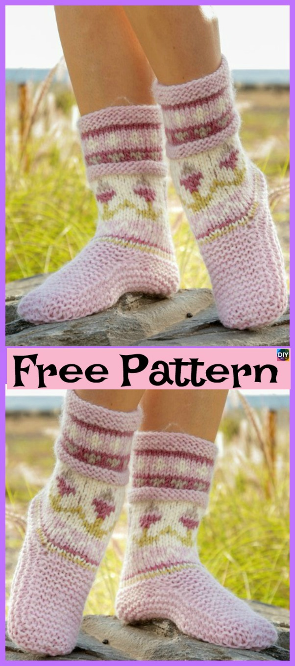 diy4ever-10 Knitted Cozy Slippers Free Patterns